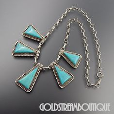 NATIVE AMERICAN RUNNING BEAR SHOP STERLING SILVER TURQUOISE TRIANGLE LINKS SOUTHWESTERN NECKLACE
