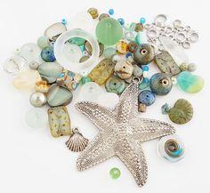 Green Beach Beads Mix  Starfish Pendant  DIY Jewelry Kit