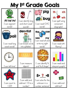 This skill goal sheet that is a fun and very visual way for the kids to see what first grade skills they have mastered. When a skill has been mastered, the child can put a sticker in the box. Excellent motivation to meet first grade goals.