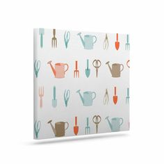 """afe images """"Gardening Tools Pattern"""" Teal Abstract Canvas Art from KESS InHouse"""