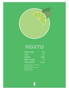 Mojito Cocktail Recipe Poster (Metric) Art Print by Jazzy Phae