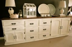 """Distressed antique white huge buffet by Analia Pastori Available at """"The Workshop"""" is located at 4060 Morena Blvd. Suite H San Diego, CA"""