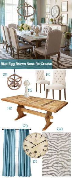 Check out this budget re-make of the Blue Egg Brown Nest Dining room. Get this look for thousands less than then original. #kitchenideasonabudget