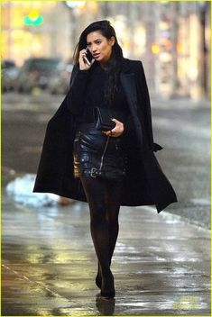 shay mitchell black outfit nyc wins fashion week 01