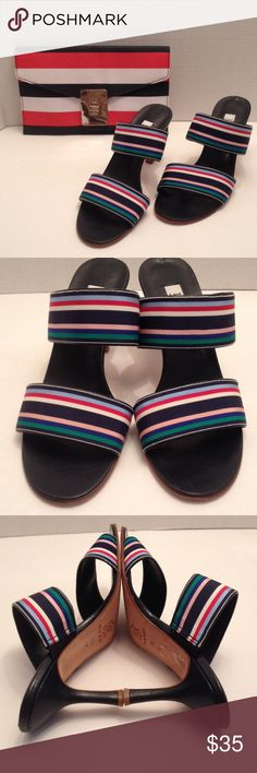 "ISAAC striped heels Made in Italy striped heels in good condition, multi colored navy blue with 3"" heels Isaac Mizrahi Shoes Heels"
