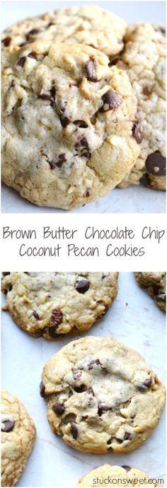 Brown Butter Chocolate Chip Coconut Pecan Cookies | www.stuckonsweet.com