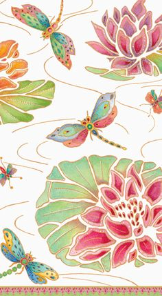 Caspari Jeweled Pond ivory Dragonflies Floral Printed 3-Ply Paper Guest Hand Towels Wholesale 13860G