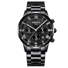 MATERIAL: High quality black stainless steel band with double push button clasp, Precise Japan quartz movement.  FUNCTIONS: All sub-dials and watch hands are good working, Full Functional Chronograph, 30M waterproof and Date Display  WATERPROOF: water resistant to 30 meters(99 feet), in general, withstands splashes or brief immersion in water, but not suitable for swimming or bathing  GIFT IDEAS: Sporty watch with elegant box is a great gift choice to your loved ones for Christmas, birthday, Mens Sport Watches, Mens Watches Leather, Luxury Watches For Men, Cool Watches, Rolex Watches, Swiss Army Watches, Quartz Watch, Fashion Watches, Gifts For Him