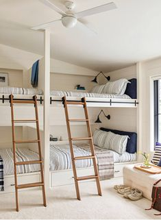 lake tahoe house bunk room, coastal bedroom design, nautical bunk room design, shared kid bedroom with built in bunkbeds in blue and white bedroom decor, shared kid room at lake houses Bunk Bed Rooms, Kids Bunk Beds, Home Bedroom, Kids Bedroom, Bedroom Decor, Lake House Bedrooms, Modern Bedroom, Bedroom Ideas, Modern Bunk Beds