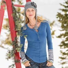 OLYA HENLEY from the Sundance catalog. $68. Sweater knit cuffs make it an interesting layering piece for fall and winter fashion.