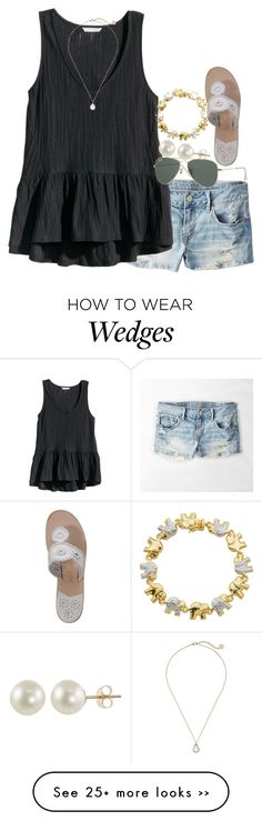"""at the beach"" by econgdon on Polyvore featuring American Eagle Outfitters, H&M, Ray-Ban, PearLustre by Imperial, Kendra Scott, Jack Rogers and Classic Treasures"