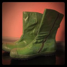 Lime Green Rain Boots Totally Unique French Rain Boots. Only worn once so are in excellent condition. Rubber soles. Side zipper and 2 buckle on back. Some scuffing on lower rubber base. Excellent statement piece. Namaste  Palladium Shoes Winter & Rain Boots