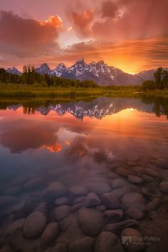 Schwabacher Sunset-Vertical by Chip Phillips ~  Grand Teton National Park, Wyoming*