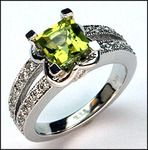 This stunning 14k white gold peridot and diamond ring features a 1.34ct peridot gemstone. .43ct in G color diamonds compliment this 14k white gold peridot ring.