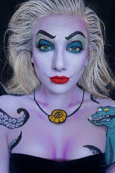 Tauchen Sie unter dem Meer mit diesen 18 Ursula Make-up Ideen Disney Halloween Makeup, Unique Halloween Makeup, Disney Makeup, Image Halloween, Theme Halloween, Halloween Looks, Diy Halloween, Halloween Mermaid, Halloween Halloween