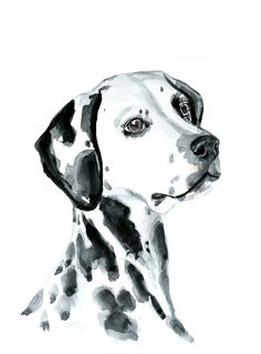 Dog  watercolor painting  art print Dalmatian by MundoMeo on Etsy, $19.00