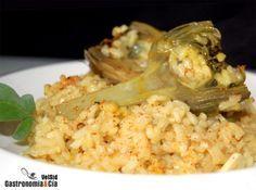 Cazuela de arroz con alcachofas