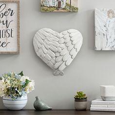 4-Layered White Angel Wings Heart Wall Plaque | Kirklands