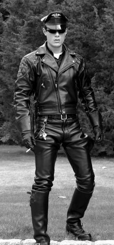 Cigar Smoking Biker Leather Porn - Man modeling a full set of Langlitz custom motorcycle leathers and Wesco  Engineer boots. Very nice!