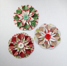 Handmade Christmas Paper Flower / Wrapping by LaurenHonakerDesign, $4.25