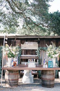 Rustic California Barn Wedding: Amanda + Corey Outdoor rustic bar for wedding. Yard Wedding, Wedding Tips, Wedding Venues, Wedding Planning, Wine Barrel Bar, Outdoor And Country, Wine Country, Country Style Wedding, Rustic Wedding Bar