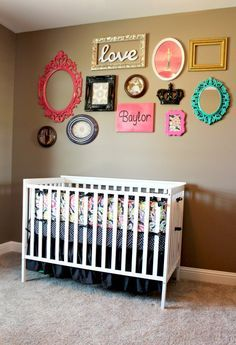 Love a mixed-frame gallery wall. (Won't be in need of baby room ideas anytime soon. But I think I could pull this off in my room if I wanted.it's a sweet idea and adds pops of color! Nursery Room, Girl Nursery, Kids Bedroom, Nursery Decor, Wall Decor, Child's Room, Nursery Ideas, Baby Girl Room Decor, Gallery Wall Frames