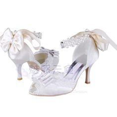 The new real shot White Satin Open Toe Pumps shoes professional shoes in Europe and America pearl ivory wedding shoes bridal shoes - Taobao