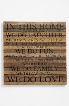 Currently discounted in the Anniversary Sale - 'In This Home' Repurposed Wood Wall Art Rustic Wall Art, Wood Wall Art, Repurposed Wood, Up House, Sign Quotes, Qoutes, Anniversary Sale, Humble Abode, Wood Signs