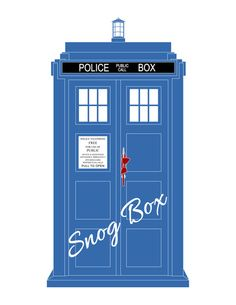 Snog Box - TARDIS Art Print.... Love the bow-tie hanging on the door handle!