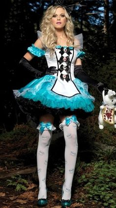 68f46786e6 Halloween Pageant Wear Women Ladies Alice in Wonderland Fancy Halloween  Costumes Party Outfit Dress  2014