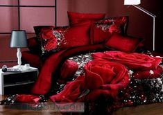 Amazing Red Flowers 4 Piece Print Cotton Bedding Sets : Tidebuy.com