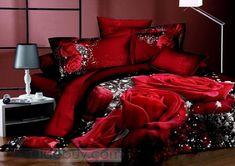 Surpreendentes Flores vermelhas 4 peças Imprimir Cotton cama conjuntos