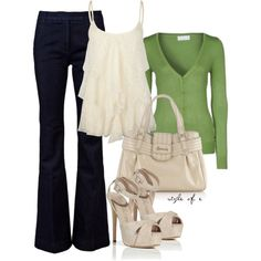 Lace Tank by styleofe on Polyvore needs a different color cardigan