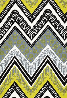 Black & Yellow. Schumacher - Tangier Frame Print  Driftwood. Fabric SKU - 174742