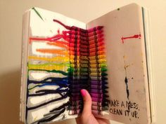 Make a mess. Clean it up. From Wreck This Journal Wreck This Journal, Wreak This Journal Pages, Book Journal, Bullet Journal, Journals, Art Journal Inspiration, Journal Ideas, Smash Book Inspiration, Cool Books
