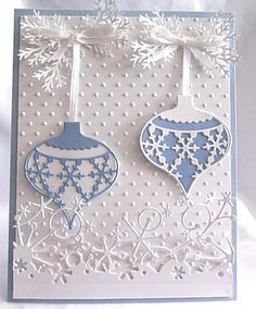 Christmas card...Memory Box baubles in light blue and white...delightful!!!