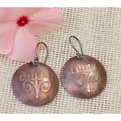 Ethnic earrings, Tribal earrings, Tribal jewelry, Primitive jewelry,... ($23) ❤ liked on Polyvore featuring jewelry, earrings, gypsy earrings, hammered copper earrings, circle earrings, dangle earrings and silver earrings