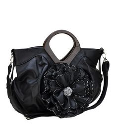 Black 3D Raised Flower Handbag With Rhinestone Detail Only  45.  handbag   purse  style  fashion  womensfashion  popular  flower  boutique c988ed7faa