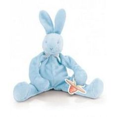 """Blue Bud's Silly Buddy by Bunnies By The Bay - 141214  Floppy, sloppy, silly and soft, our playful pacifier holding silly buddies with rattle, tie onto baby's stroller, crib and car seat. Machine wash cold and tumble dry low. Size 10""""."""