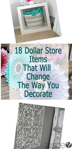 How to Decorate with Dollar Store Items! Bring on some fun ideas on how to decorate with dollar store items. I'm dying over those painted vases at the bottom. Start saving up your pennies and get to the dollar store to spruce up your living area! Home Projects, Home Crafts, Diy And Crafts, Homemade Crafts, Do It Yourself Organization, Room Organization, Organizing Life, Diy Home Decor Rustic, Decor Diy
