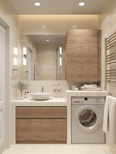 Very neat bathroom layout with the washing machine. Washing machine is exposed but neatly tucked away
