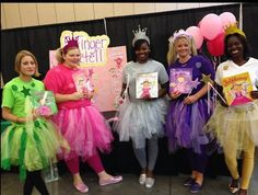 Pinkawonderful Teachers in the Pinkalicious spirit! Original Halloween Costumes, Character Halloween Costumes, Teacher Halloween Costumes, Book Character Costumes, Book Day Costumes, Book Week Costume, Cute Halloween, Group Costumes, Costume Ideas