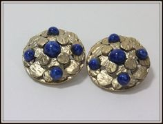 Kramer of New York Silver tone and Lapis colored stone clip on earrings on Etsy, $17.99
