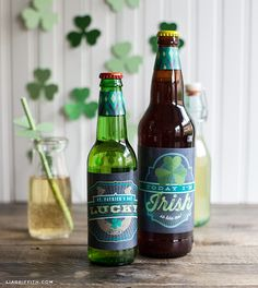 Printable St. Patrick's Day Ginger Soda or Irish Beer Bottle Labels