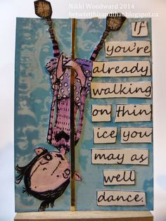'Naughty' atc trade using Stampotique's Minky Girl - yes she is pole dancing ! LOL