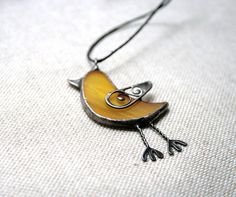 Bird pendant  yellow filligree stained glass and by ArtKvarta, $16.00