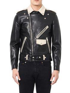 Saint Laurent Bi-colour leather biker jacket