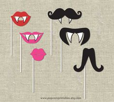 Halloween Scary Photo Booth Lips & Mustaches Props- DIY Instant Download- Print at Home - Adobe Reader- Pink Red Black - Vampire Teeth on Etsy, $3.00