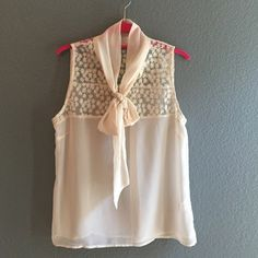 """Final Price Embroidered Tie Neck Sheer Blouse Romantic Embroidered Tie Neck Sheer Blouse in cream. Bust: 19"""", length 24.75"""". Excellent Pre-loved condition. **final price - just reduced. price firm unless bundled** 6D2012 Liberty Love Tops Blouses"""