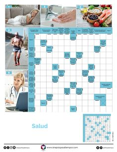 Autodefinidos. Salud. #Pasatiempos #Entretenimiento #Autodefinidos #Salud #Bienestar  Más en www.sinapsispasatiempos.com Crossword, Printable Word Search Puzzles, Entertainment, Wellness, Storage, Health, Crossword Puzzles